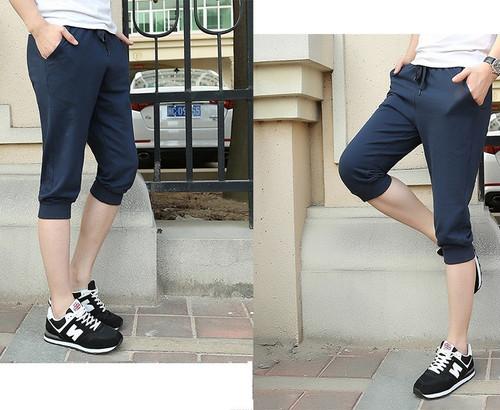 ygca 336upk3 7分丈 ジョガーパンツ 韓国 メンズ スウェット ハーフパンツ 夏