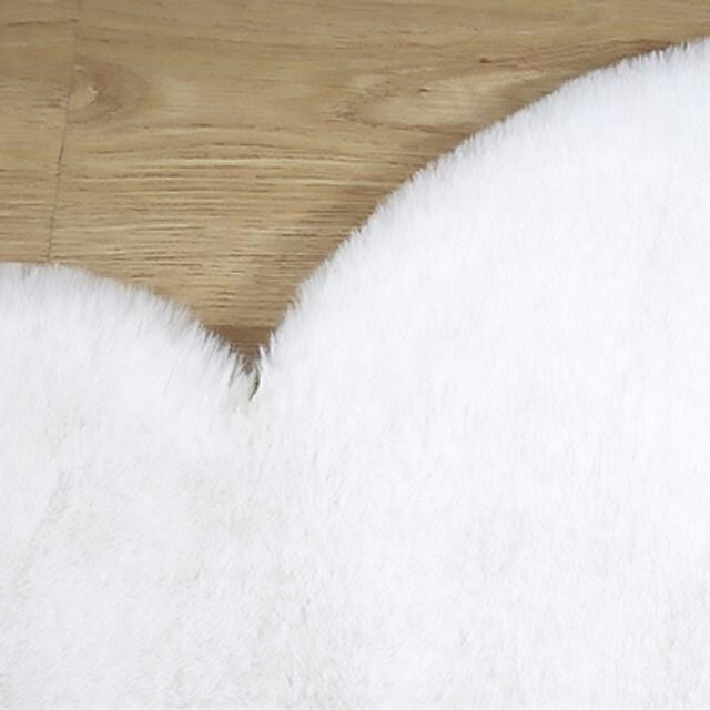 rkab 392tk25 [ホワイト] クマ ラグ マット フェイクファー ふわふわ ベアー カーペット 45x60cm