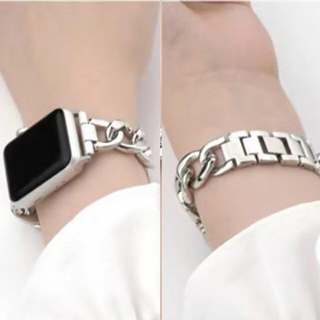 rkab 393kn10 [38mm/40mm] Apple Watch チェーンベルト シルバーカラー アップルウォッチ メタル バンド