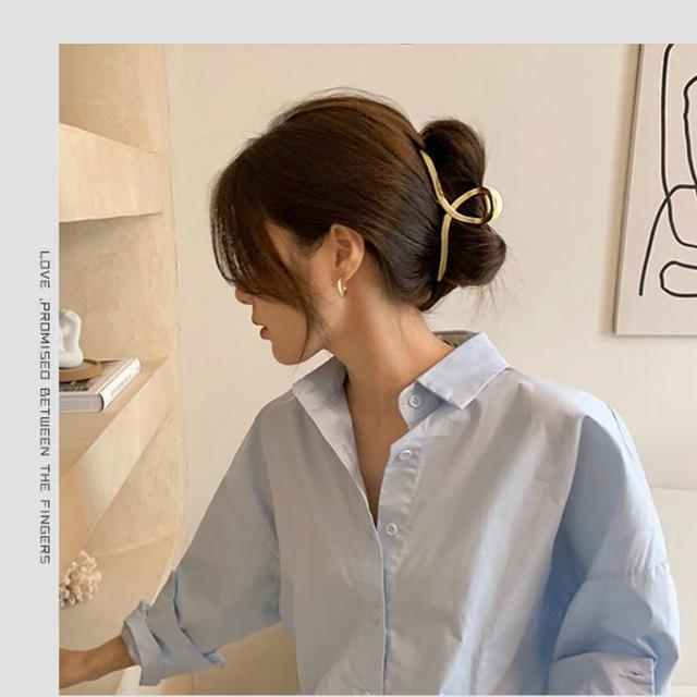 zvpa 1880tk10 バンスクリップ 大中2個セット 大きめ おしゃれ メタリック ヘアクリップ 大きな髪止め バレッタ 女性 髪飾り レディース ヘアアクセサリー ゴールド カラー シンプル 上品 ヘアアレンジ カジュアル オフィス パーティ