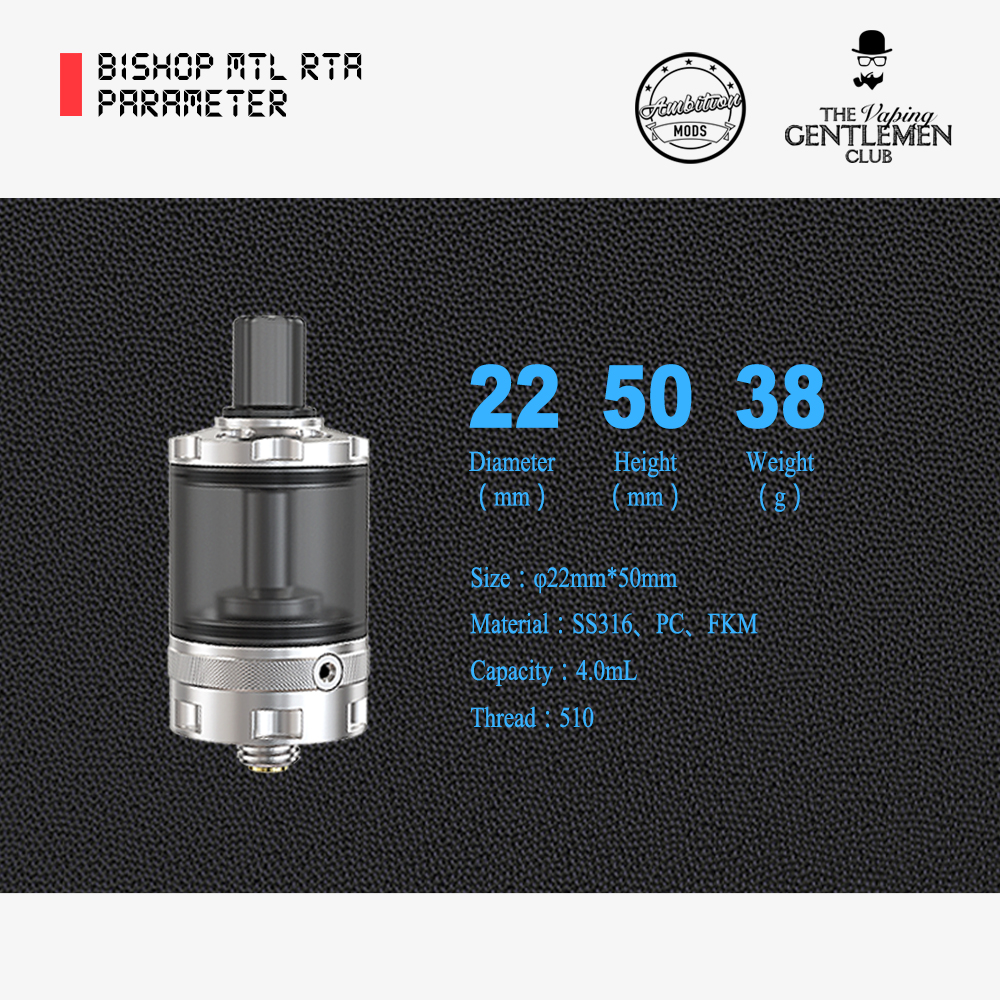 Ambtiion Mods Bishop MTL RTA 22mm/4.0ml/アンビションモッズ/ビショップ/電子タバコ アトマイザー vape RBA 本体 ベイプ [F-11]
