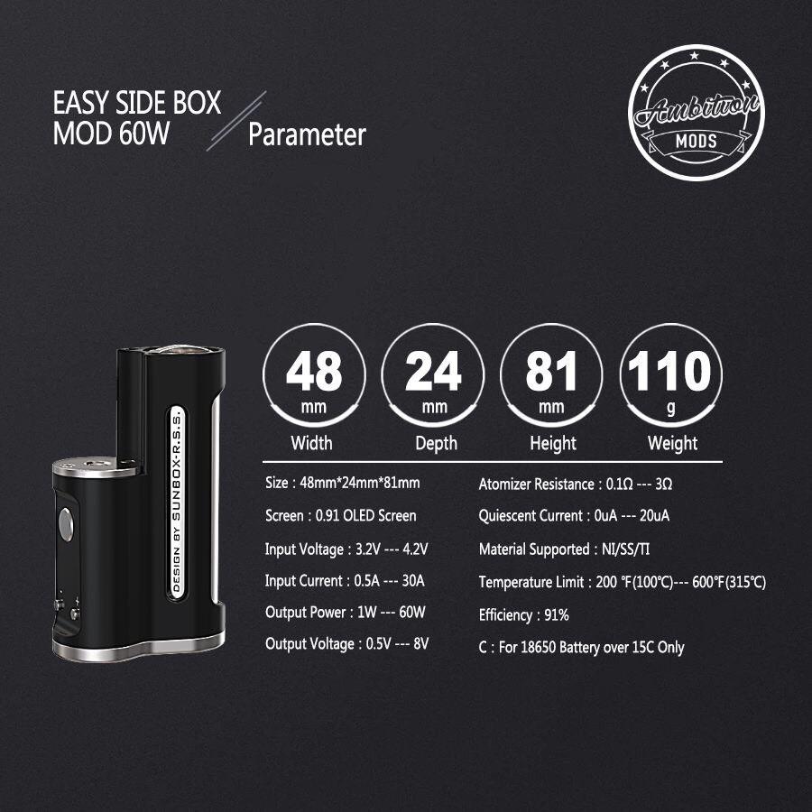 Ambition MODS EASY Side Box Mod 60W DESIGN BY SUNBOX R.S.S. vape アンビションモッズ サンボックス ステルスMOD ベイプ 電子タバコ mod 本体 イージー mod   [Q-13]