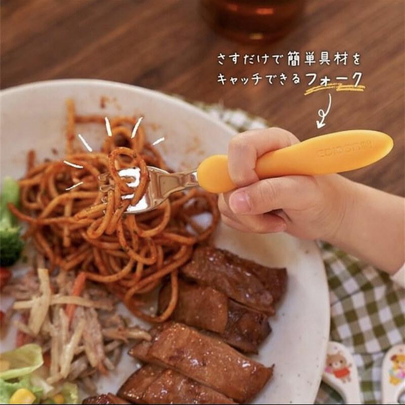 日本製!【送料無料】Newカラー じょうずに食べられる 子供用フォークスプーンセット ベビー食器 カトラリー