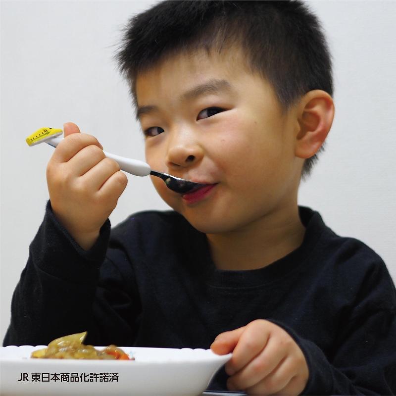 日本製!【送料無料】子供用エジソンのフォークスプーンセット 新幹線シリーズ 923形ドクターイエロー Dr.YELLOW カトラリーベビー食器 じょうずに食べられる