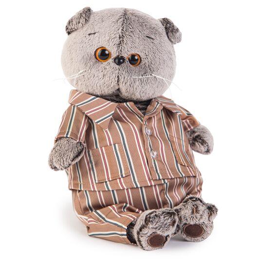 Basik シルクのストライプパジャマ ハンドメイドの猫ちゃんです ギフト♪プレゼントに♪