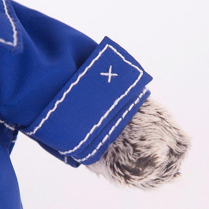 Basik ブルーのジャケット 可愛い猫のぬいぐるみです ギフトやプレゼントに