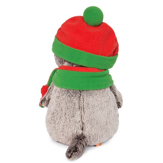 Basik 緑とオレンジのニット帽&マフラー 可愛いねこちゃんです お祝い プレゼントに♪