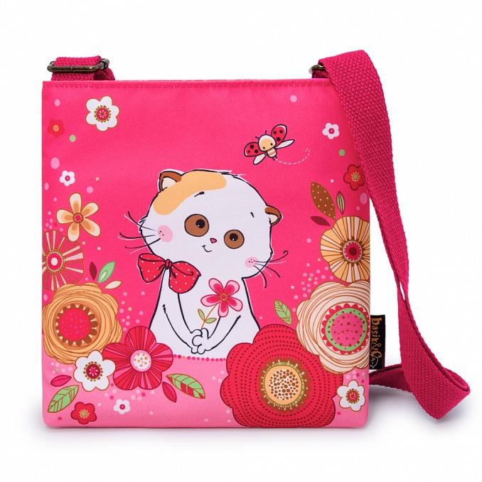 Li-li ピンクの花柄ショルダーバック