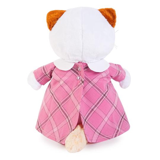 Li-li  ピンクのチェック柄ワンピース  可愛い猫ちゃんのぬいぐるみです♪