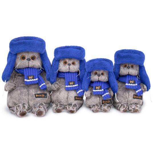 Basik ブルーのもふもふロシア帽 可愛いねこちゃんです お祝い プレゼントに♪