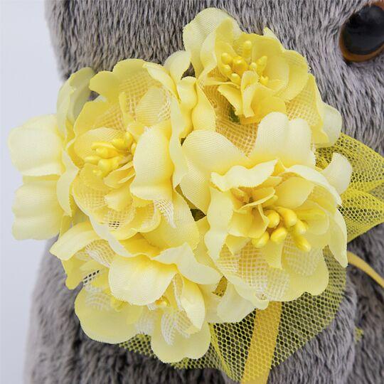 Basikl Baby with 黄色い花束 可愛いねこちゃんです お祝い プレゼントに♪