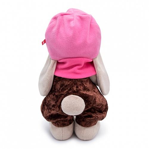 うさぎのMI ピンクのニット帽とブラウンパンツ