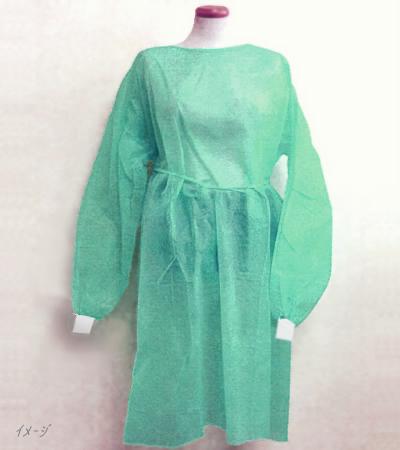 アイソレーションガウン(グリーン・袖口ニット) 10枚入 不織布長袖ガウン・緑色