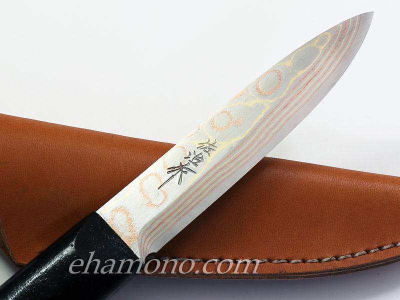 佐治武士作【マキリ小刀】有色ダマスカス 両刃
