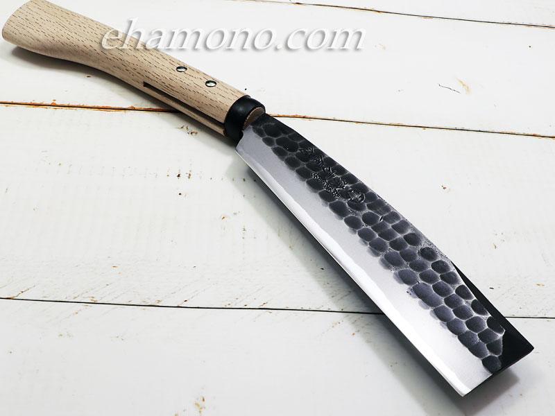 日野浦刃物工房 『味方屋作』 鎚目鞘鉈6寸(180) 黒打両刃