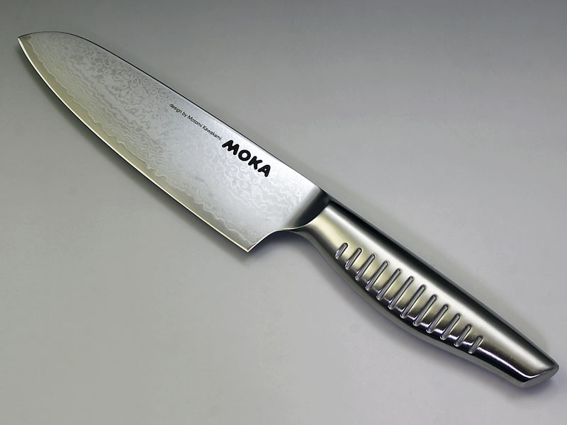 MOKA V金10号ダマスカス一体型 小三徳包丁