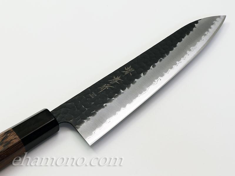 青紙スーパー割込 和牛刀210 黒鎚目 特注:ウェンジ八角水牛柄付