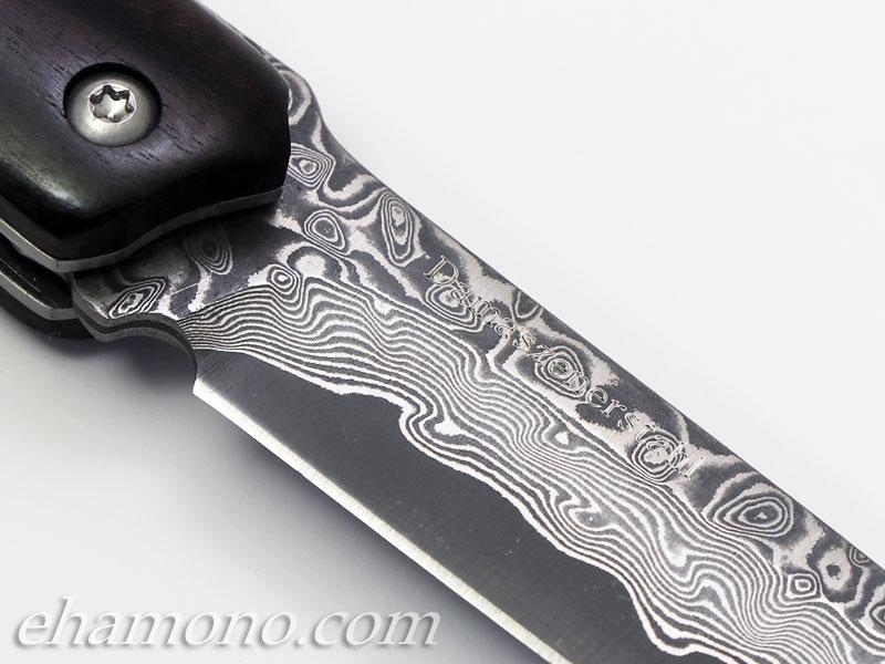 【ドイツ製】ダマスカス フォールディングナイフ 黒丹