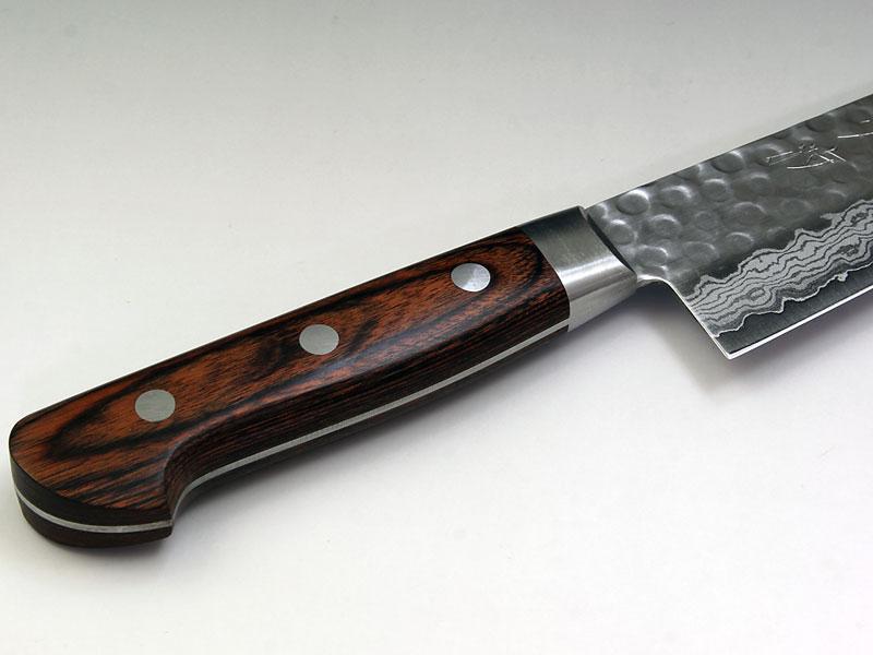 V金10号 ダマスカス17層鎚目『夕波』 牛刀180〜Damascus17 Layers(Hammered) Cook's knife180