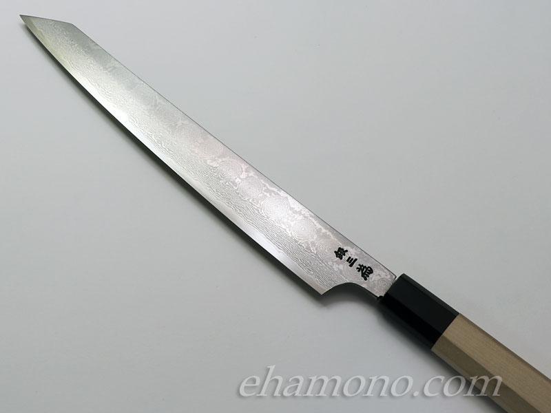 堺孝行 ダマスカス銀三鋼割込 剣型柳刃270