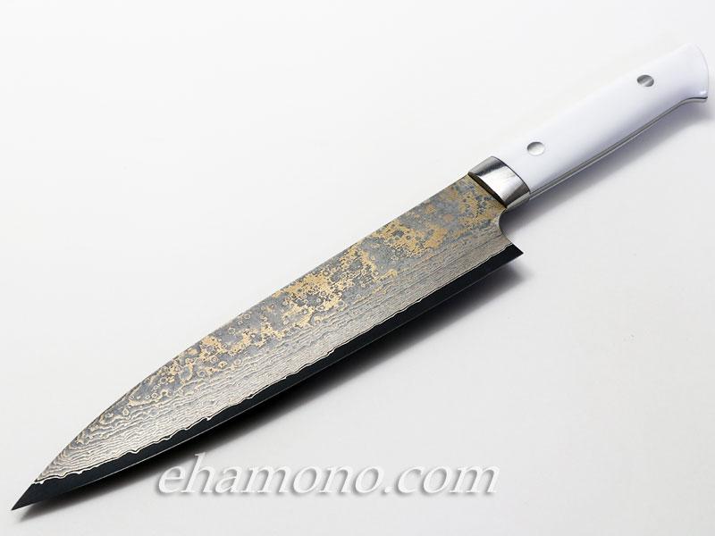 佐治武士作『V金10号金色ダマスカス 牛刀210 コーリアン』
