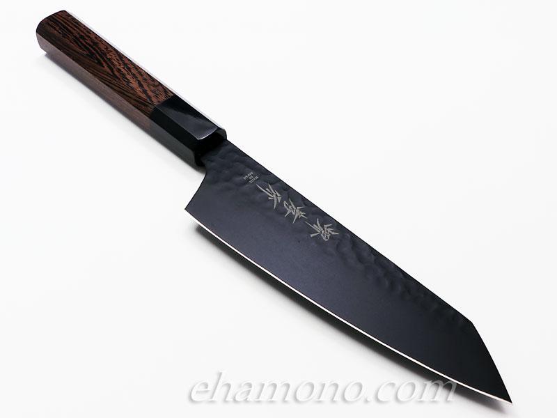 堺孝行 黒影 剣型(切付型)三徳 V金10号鎚目フッ素加工和式包丁