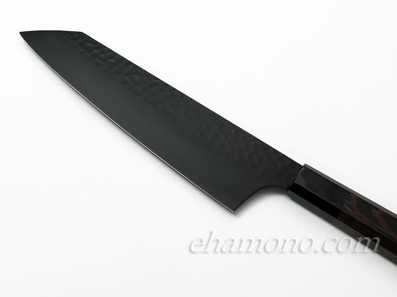堺孝行【黒影】 剣型(切付型)牛刀190 V金10号鎚目フッ素加工和式包丁
