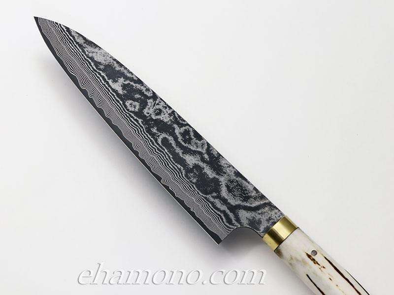 佐治武士作 V金10号ダマスカス・カスタム牛刀210 丸鹿角ハンドル