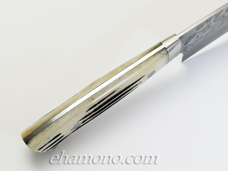 佐治武士作 V金10号ニッケルダマスカス牛刀210 スタッグ(鹿角)鎚目ミガキ