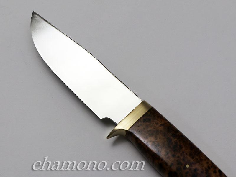 西田刃物工房 大祐作 白1鋼本鍛造片刃ナイフ105ブラックアッシュバール