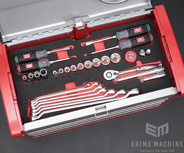 【KTC】 9.5sq. 66点工具セット SK36621E(特典付)シルバー×レッド  スタンダードツールセット EKR-103 採用モデル SK SALE 2021 SKセール