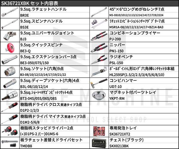 【KTC】 9.5sq. 67点工具セット SK36721XBK(特典付)ブラック スタンダードツールセット SKX0213BK 採用モデル SK SALE 2021 SKセール