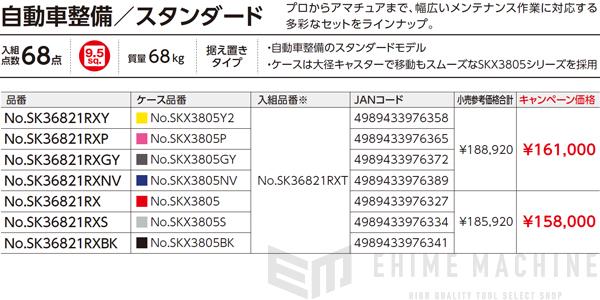 [メーカー直送業者便] KTC 9.5sq. 68点工具セット SK36821RXBK ブラック SKX3805BK 採用モデル SK SALE 2021 SKセール