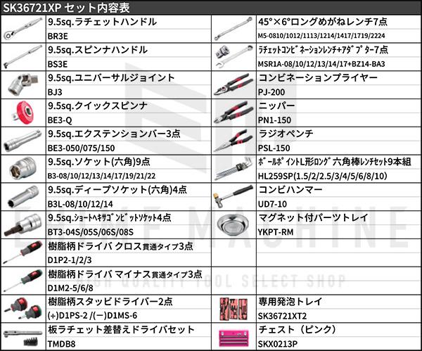 【KTC】 9.5sq. 67点工具セット SK36721XP(特典付)ピンク スタンダードツールセット SKX0213P 採用モデル SK SALE 2021 SKセール