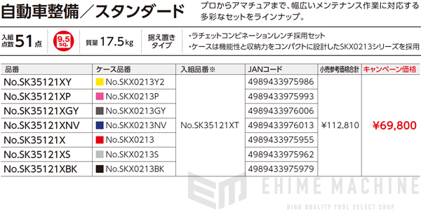 【KTC】 9.5sq. 51点工具セット SK35121XBK(特典付)ブラック 新設計トレイ採用ツールセット SKX0213BK 採用モデル SK SALE 2021 SKセール