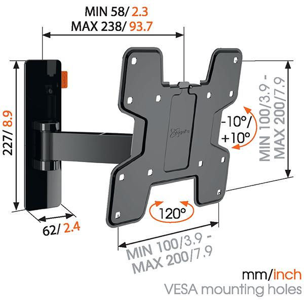 小型・中型 19〜40型 テレビ壁掛け金具 Vogel's ボーゲルズ WALL3125(壁付・シングルアーム 首振り120°回転)