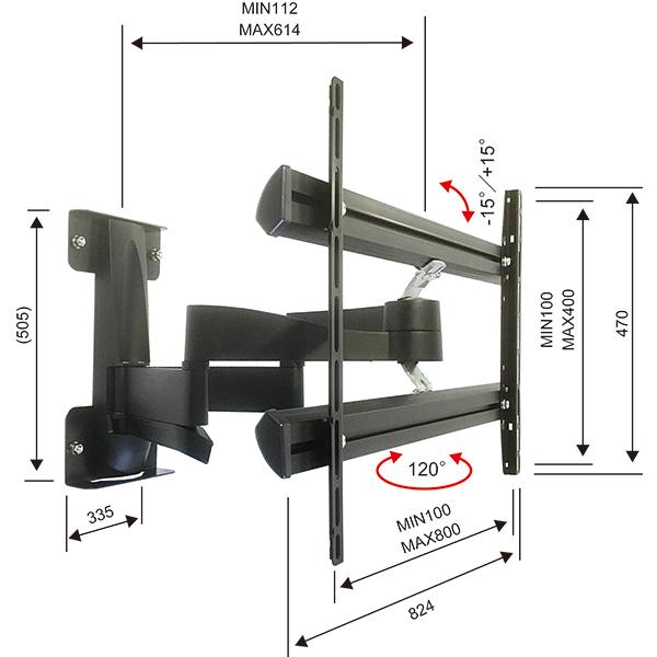 大型・超大型 55〜100型 テレビ壁掛け金具 Vogel's ボーゲルズ WALL3450(壁付・ダブルアーム 首振り120°回転)