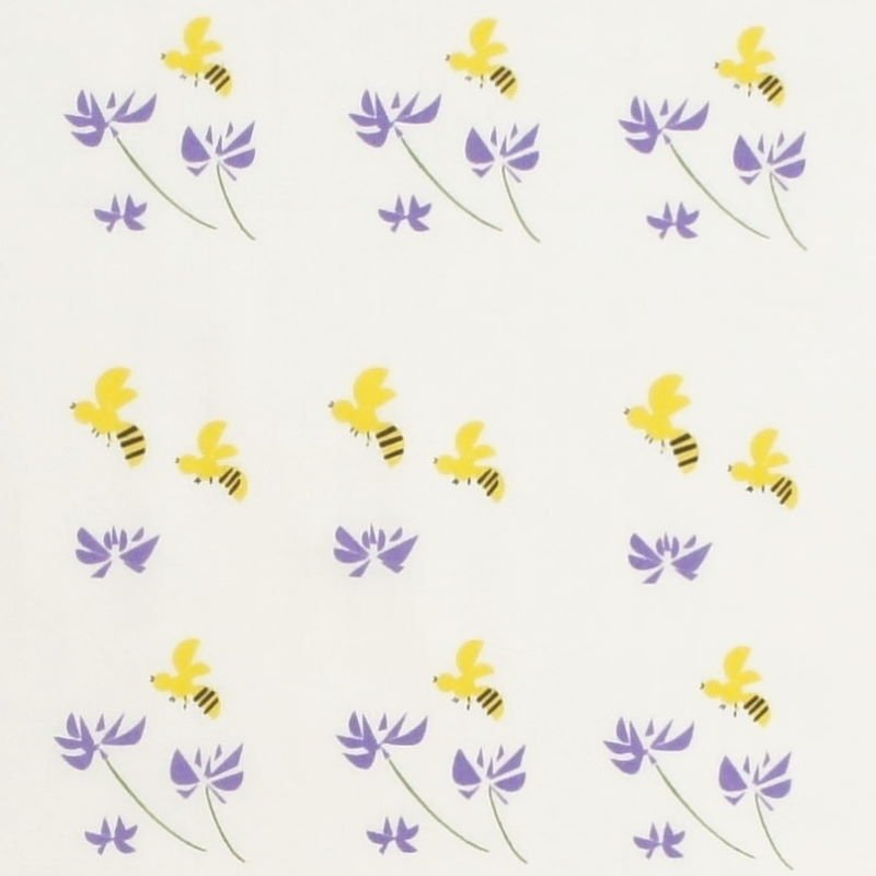 手拭総柄90㎝ 「レンゲと蜜蜂」(パープル)