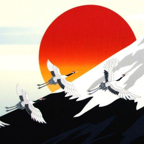 町家手拭 「富士と鶴」