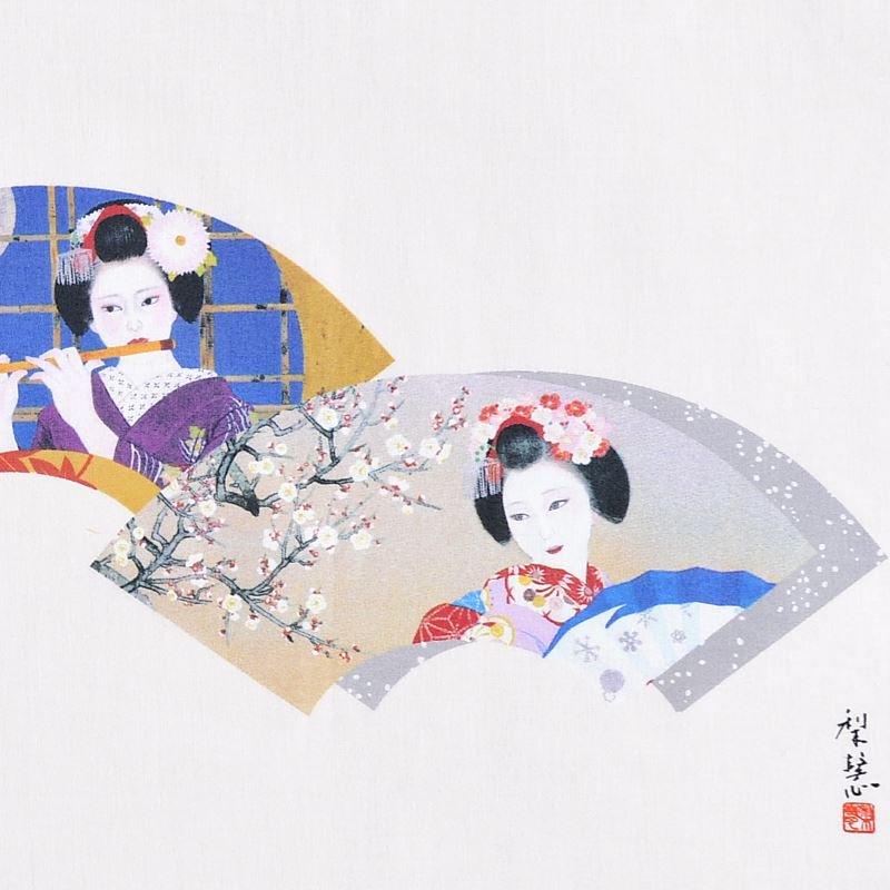 永楽屋創業400年記念手拭 「四季舞妓扇面」