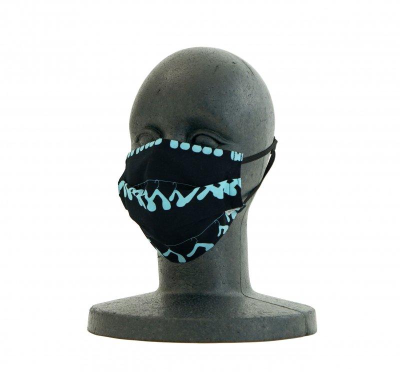 手ぬぐいマスク(二層) 「ハンガー(ブルー)