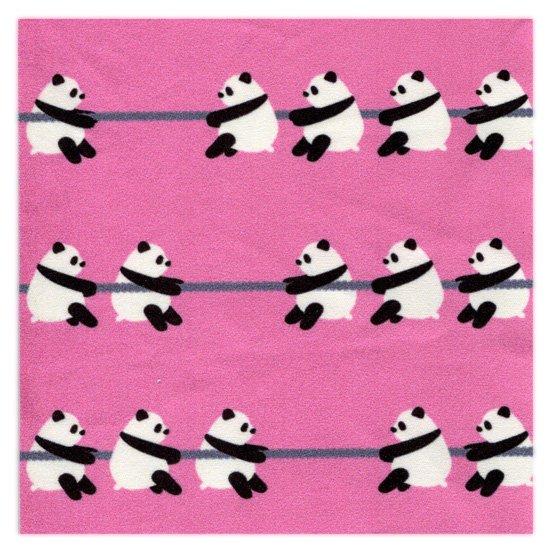 クリーニングクロス(小)「綱引きパンダ」
