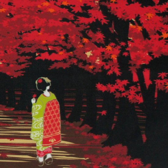 町家手拭 「紅葉と舞妓さん」