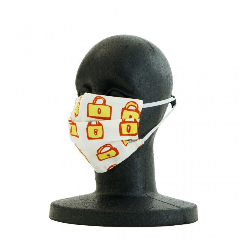 手ぬぐいマスク(二層) 「錠」(イエロー)