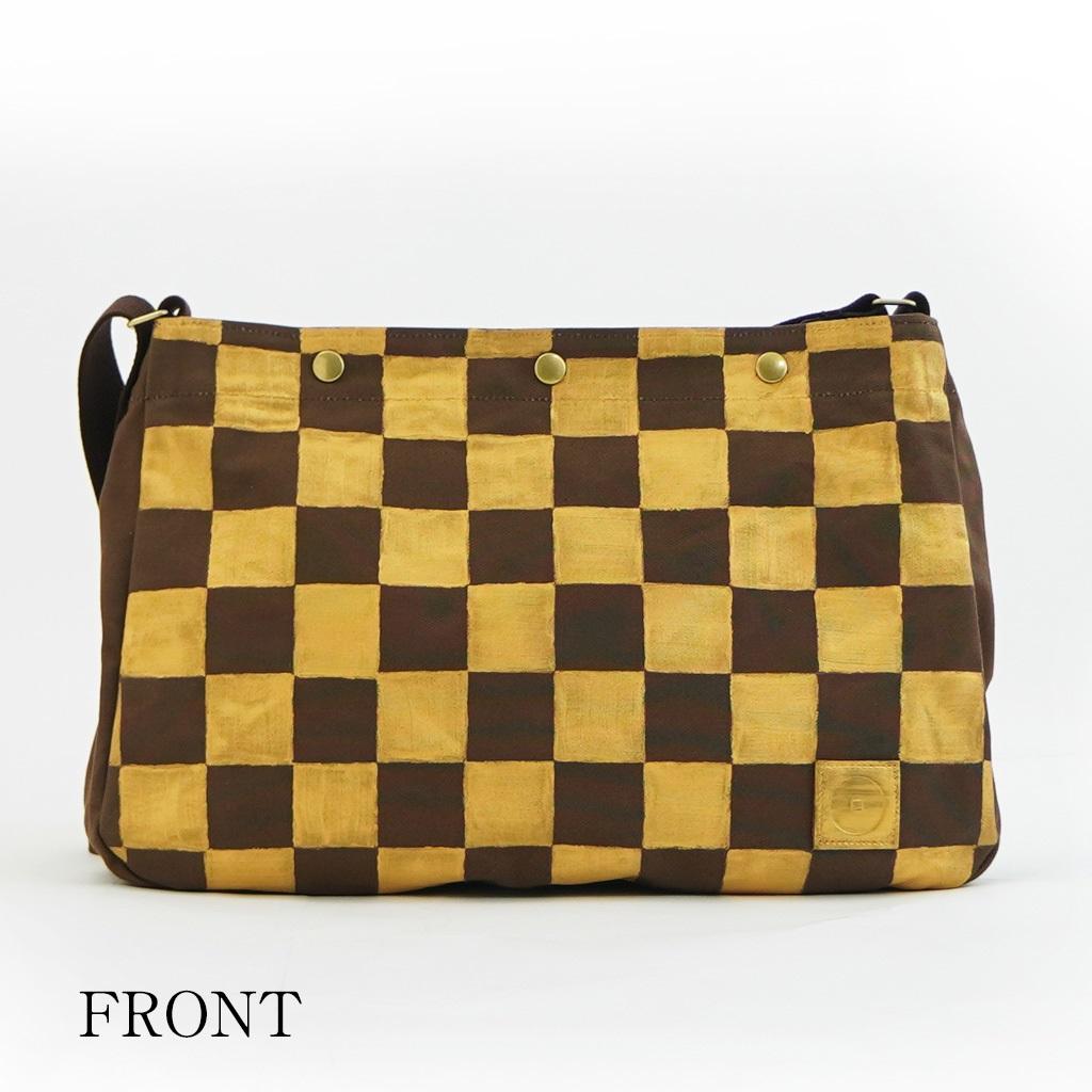 樂しい鞄 「A4横ショルダー ブラウン」(市松ゴールド)