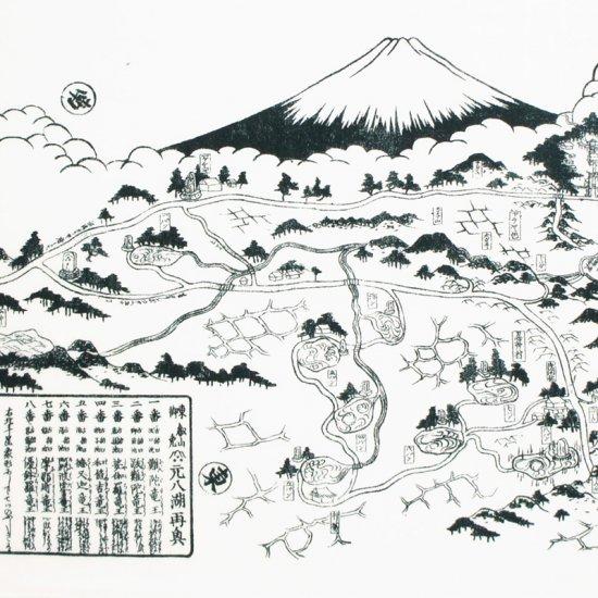 手ぬぐい 「忍野八海絵図と和歌(おしのはっかいえずとわか)」