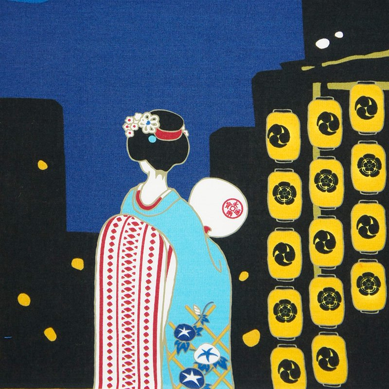 町家手拭 「祇園祭と舞妓さん」