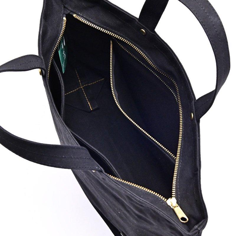 樂しい鞄 「横長トート(中)ブラック ファスナー付き・持手S」(七宝シルバー)