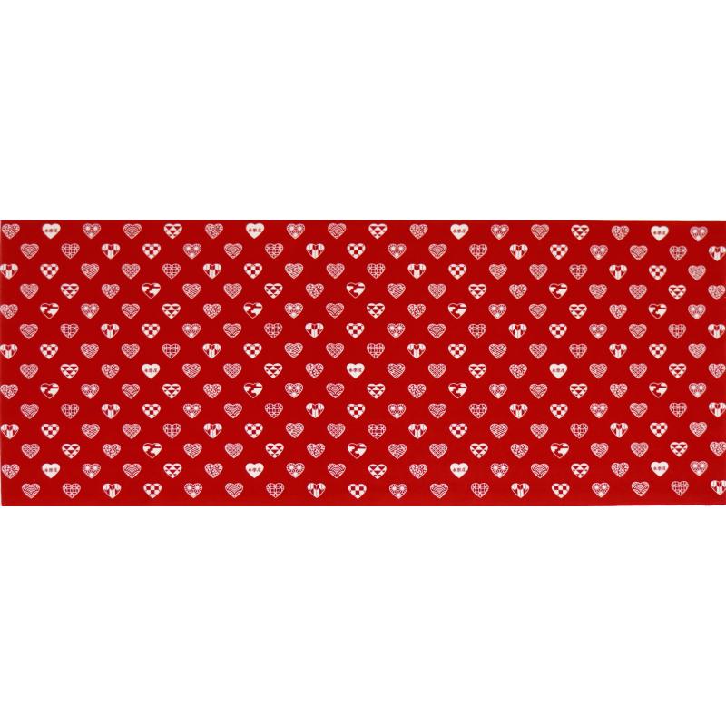 手ぬぐい 「ラブリ紋 横」(レッド/ホワイト)