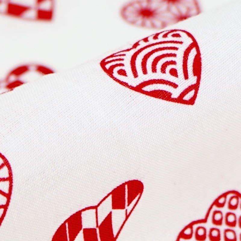 手ぬぐい 「ラブリ紋 横」(ホワイト/レッド)